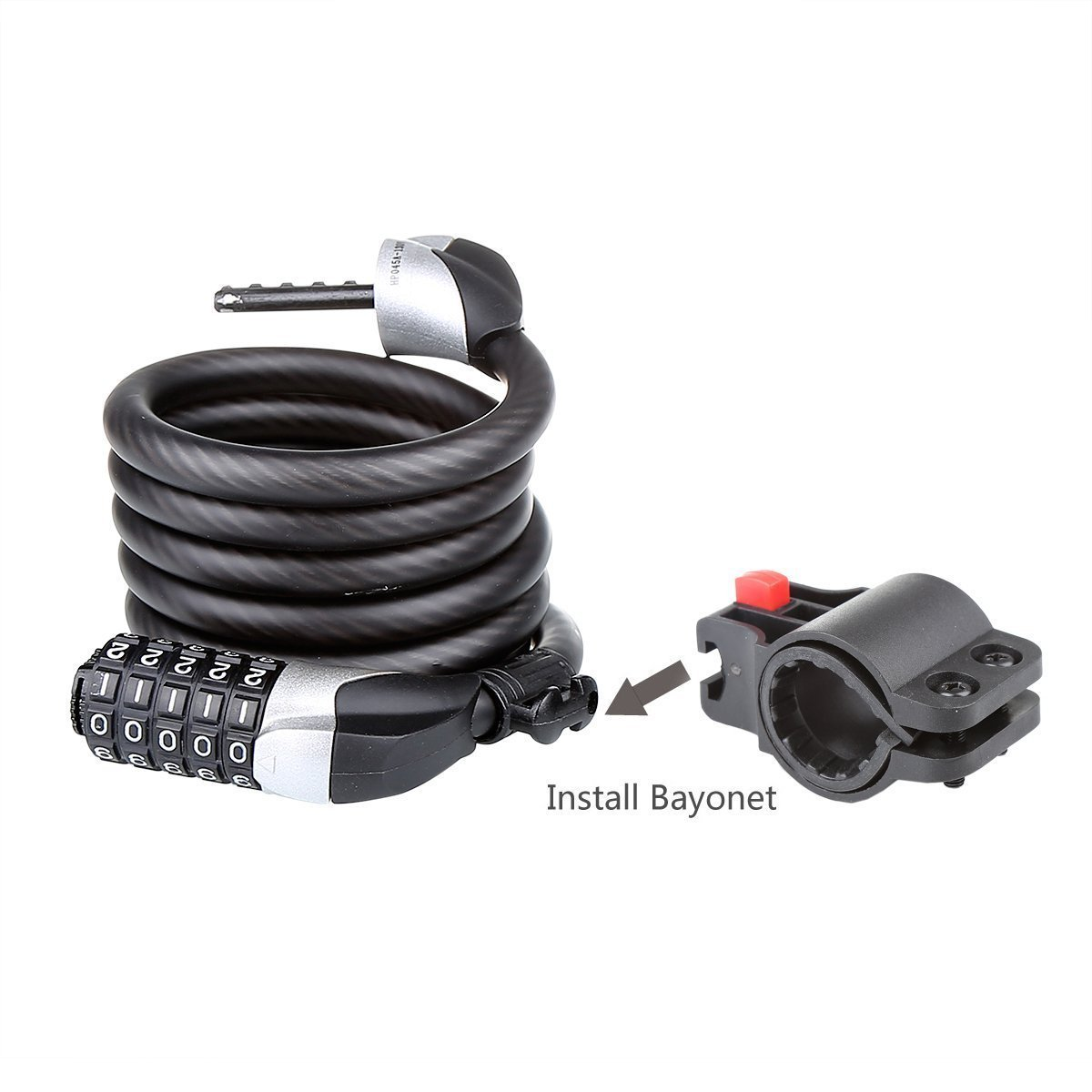 Blusmart Bike Security Cable Lock Combination with Flexible Mount Twisted Met...